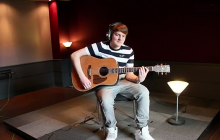 Richard Caddock at the end of recording Lego House cover
